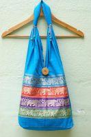 Голубая индийская женская сумка с тесьмой со слонами