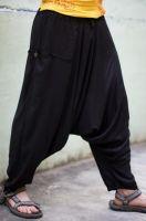 Мужские чёрные штаны афгани из вискозы, с карманами