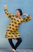 Индийская курта (туника) со слонами, оливковая