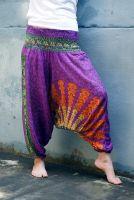 Индийские штаны алладиныы с павлинами, фиолетовые