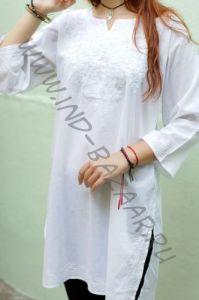 Белая индийская рубашка с белой вышивкой XXXL (Москва)