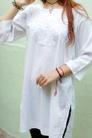 Женская белая индийская курта (рубашка, туника) с вышивкой, купить в интернет-магазине в Санкт-Петербурге