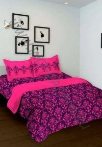 Фиолетовое индийское покрывало с наволочками (хлопок)