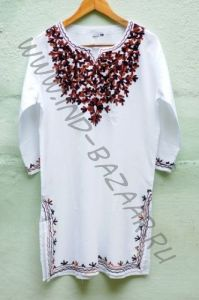 Женская индийская курта с вышивкой (коричневой)