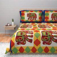 Индийское покрывало на кровать со слонами