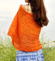Оранжевый шарф из натурального шелка, купить за 1000 руб.