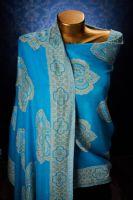 Индийский хлопковый палантин голубого цвета, интернет магазин. Купить с бесплатной доставкой